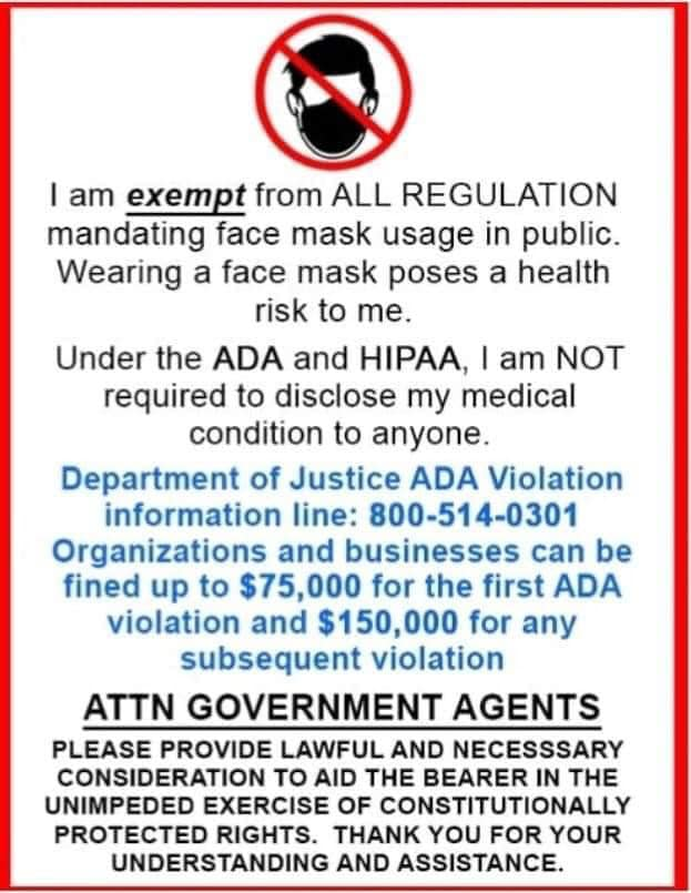 Face Covering And Mask Exemption Document, BreathingRights.org